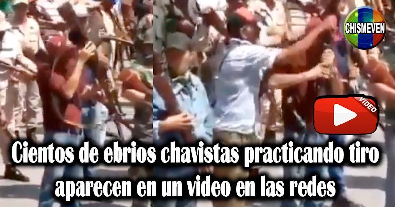Cientos de ebrios chavistas armándose aparecen en un video en las redes