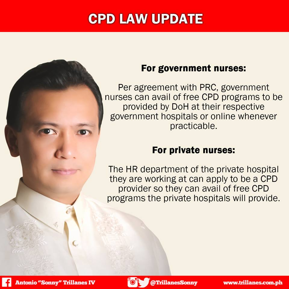 Senator Trillanes' update on CPD implementation for nurses