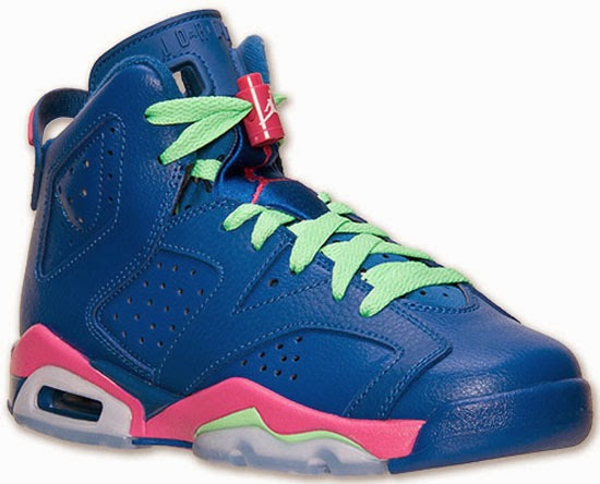 size 40 7bd2a de139 This Girl s Air Jordan 6 Retro GS comes in a game royal, white, vivid pink  and light lucid green colorway. Featuring a royal blue based leather upper  with ...
