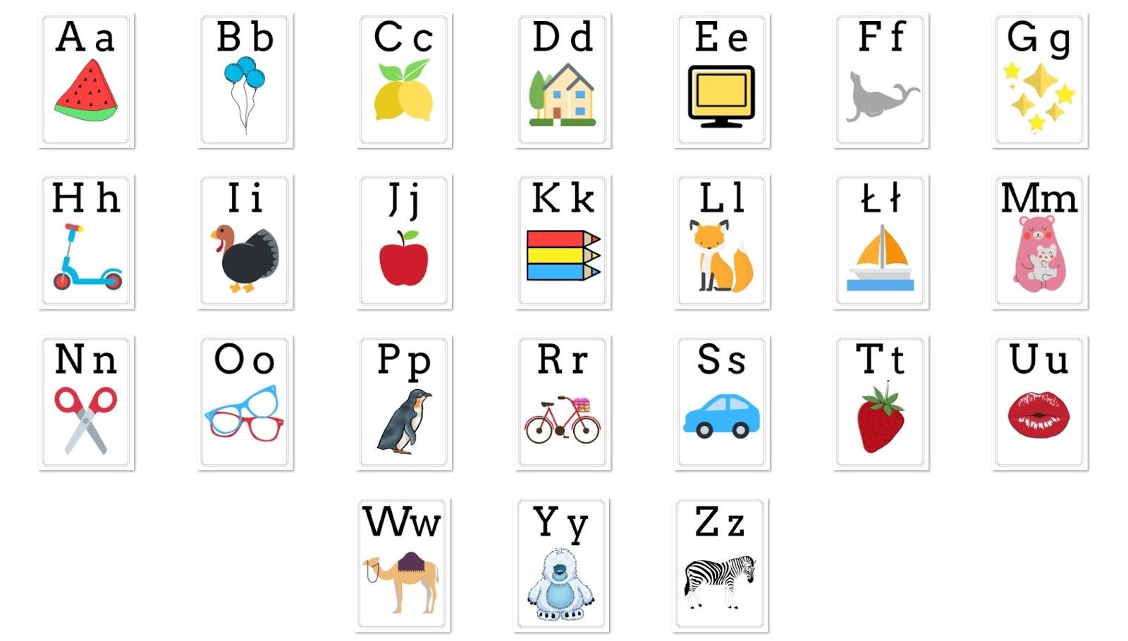 karty z alfabetem