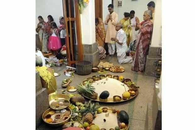 The Durga Puja spread at Chhatu Babu Latu Babu. Photo is by Ashok Nath Dey of Hindustan Times.