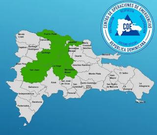 Sistema frontal afecta el país; COE emite alerta verde para seis provincias