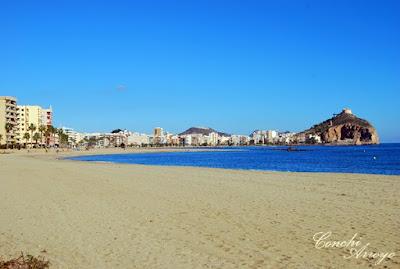 Preciosa imagen de la playa de poniente, al fondo uno de sus torreones y detrás el castillo de San Juan