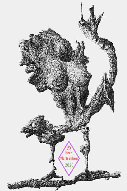 Mit Tusche und Feder gezeichnetes Fantasiegebilde. Es ist eine ineinander verwobene Zeichnung, ähnlich einem Fixierbild mit vielen Gesichtern und Figuren. Diese Figuren sind sowohl menschliche, als auch tierische Fantasiewesen. Asl ganzes gesehene Figur kann man beschreiben, das der Körper aus einer weiblichen Brust besteht, die sich mittels ihrer zwei, deformierten Hühnerbeine, auf einem Ast festhält ....