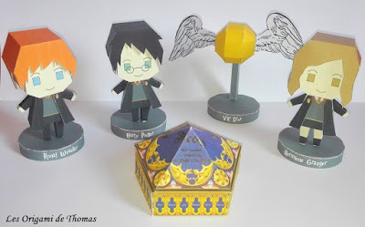 origami Harry Potter, Hermione Granger, Ron et chocogrenouille