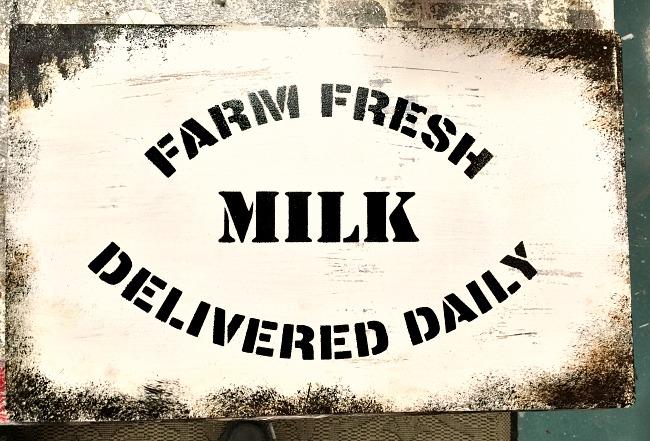 How to Make a Rusty Enamel Farm Fresh Milk Sign