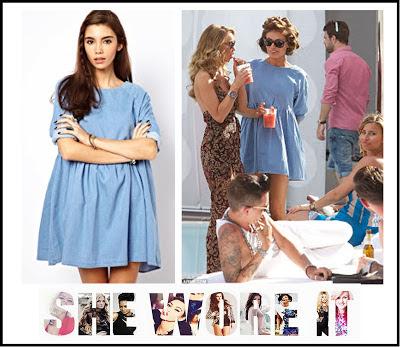 3/4 Sleeve, ASOS, Blue, Chloe Sims, Denim, Denim Dress, Dress, Mini Dress, Oversized, Pleated, Swing Dress, The Only Way Is Essex, TOWIE,