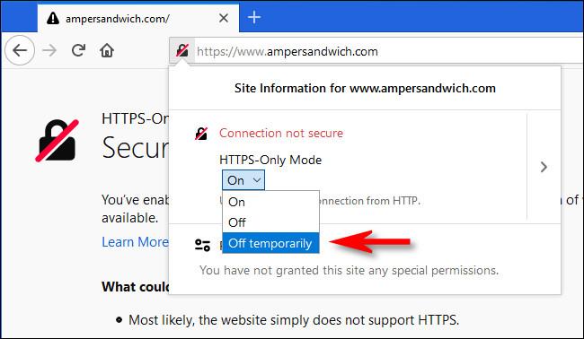 """بعد النقر فوق رمز القفل في Firefox ، حدد """"Off termporarily"""" من القائمة المنسدلة HTTPS-Only Mode."""