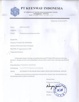 Contoh Surat Permohonan Pembuatan Surat Referensi Bank