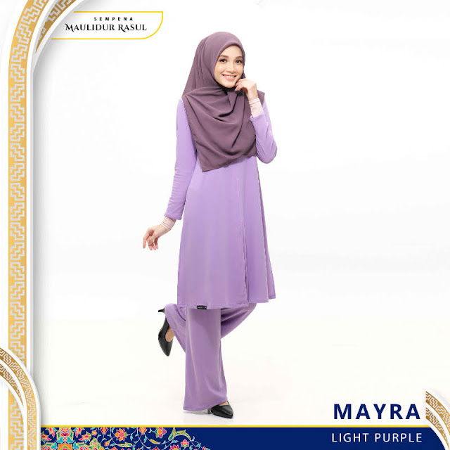 Mayra Jubah Seluar Plain Tanpa Gosok Light Purple