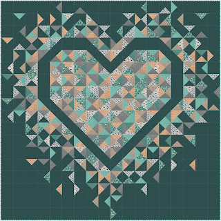 Exploding Heart quilt using Forest Life collection from Dandelion Fabric & Co.