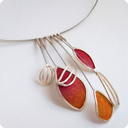 silver and hand painted modern paper necklace in shades of coral and orange