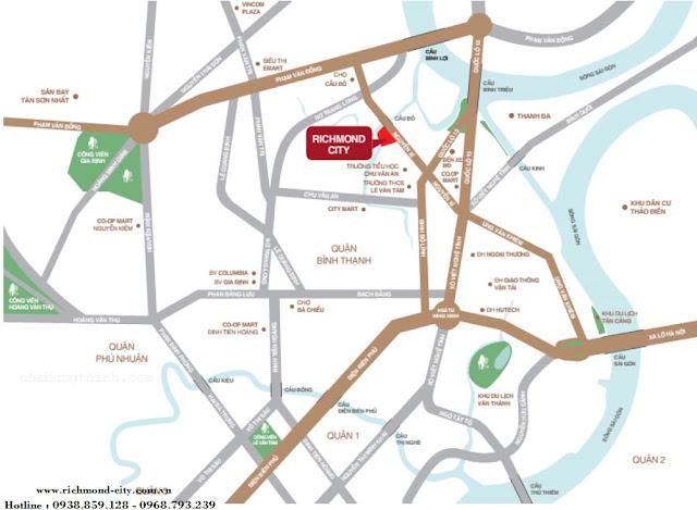 Căn Hộ Richmond City tọa lạc tại số 207 (79-số củ) Nguyễn Xí, Phường 26, Q. Bình Thạnh, TP HCM.