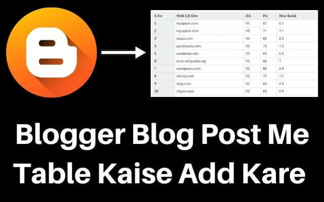 blogger ke blog post me table kaise add kare, blog me table kaise banaye