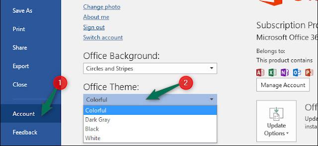 تفعيل الوضع المظلم في Office برنامج 2