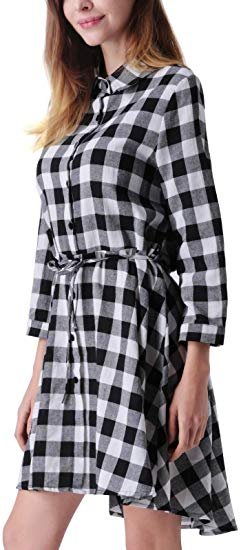 70% off Long Sleeves Button Down Belted Party Mini A-Line Shirt Dress