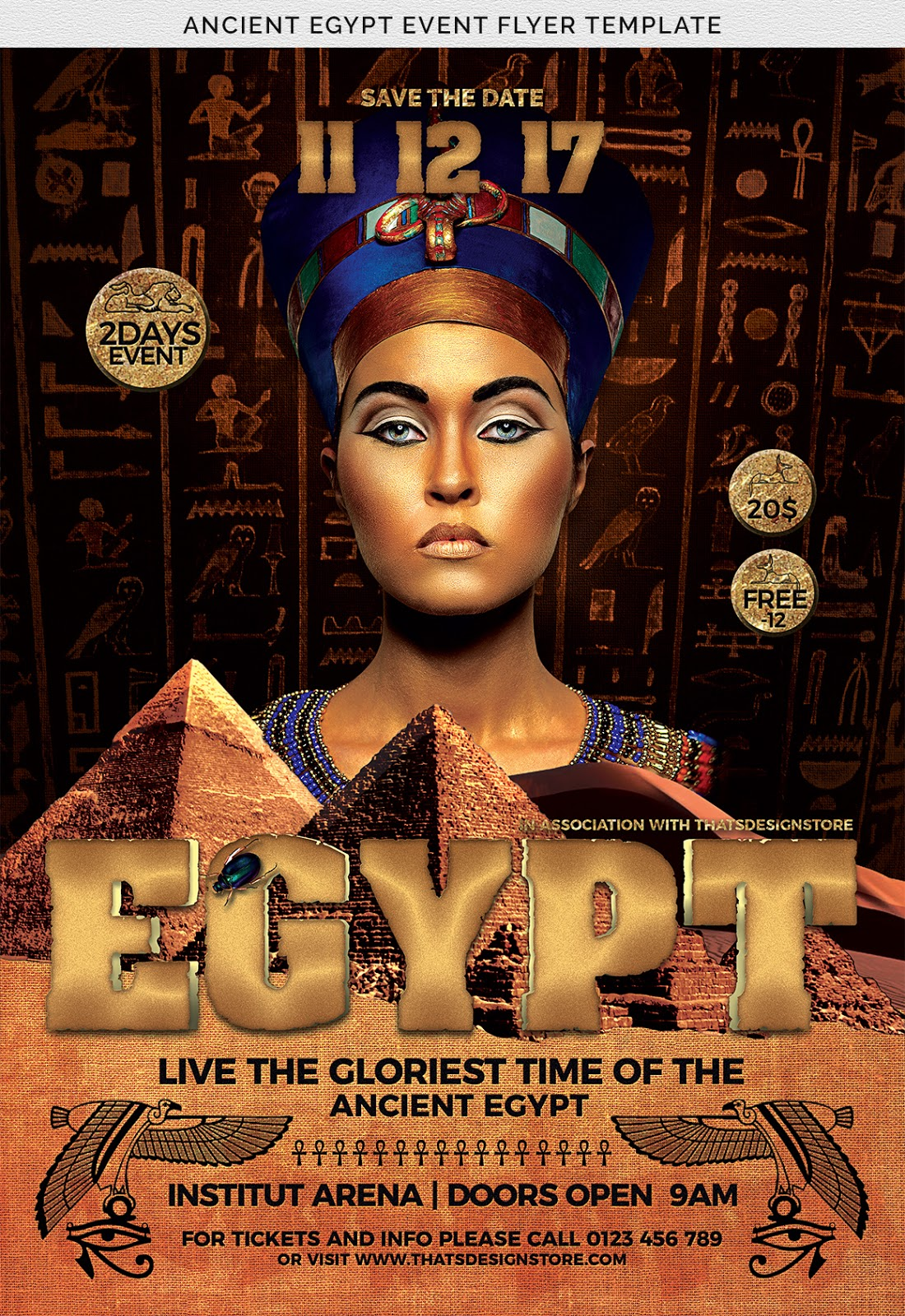 Flyer psd is special for tourism and ancient Egyptian Pharaonic civilization