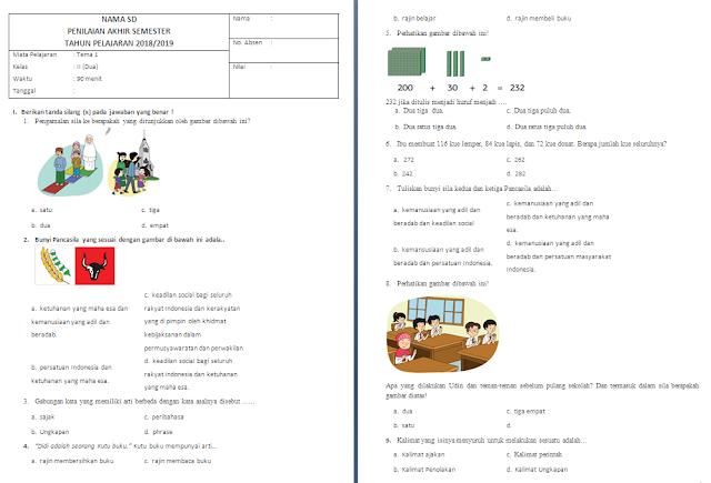 Soal PAS Kelas 2 SD/MI: Tema 1