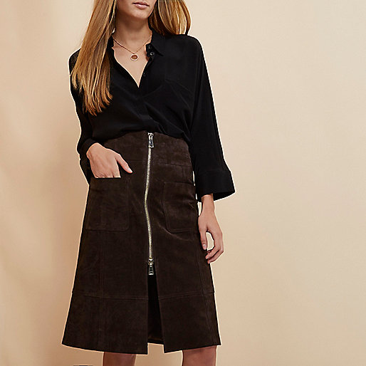river island suede skirt, zip front suede skirt,