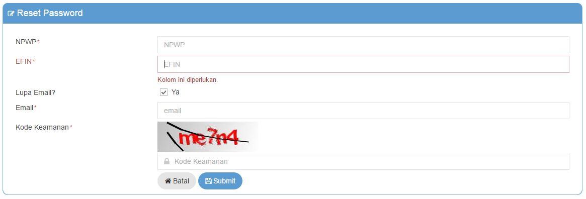 Salah memasukkan password DJP Online