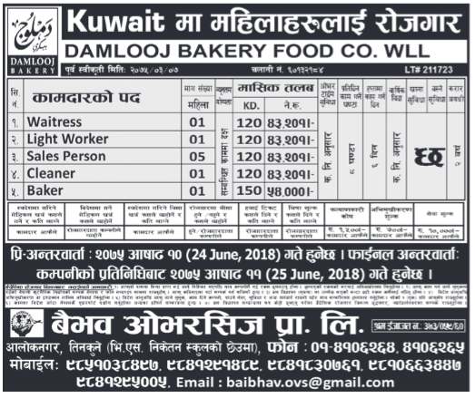 Jobs in Kuwait for Nepali, Salary Rs 54,000
