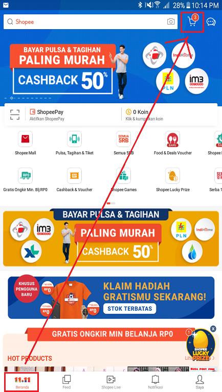 Fitur Troli/ Keranjang Belanja di Halaman Beranda Aplikasi Shopee.