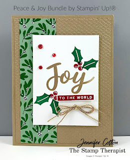 This card uses Stampin' Up!'s Peace & Joy Bundle.  I also used the Wonderful Gems, Wonder of the Season Ribbon Combo,  Tasteful Textile embossing folder, and the Tis the Season designer paper.  #StampTherapist #StampinUp