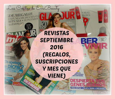 Revistas Septiembre 2016 (Regalos, suscripciones y mes que viene)