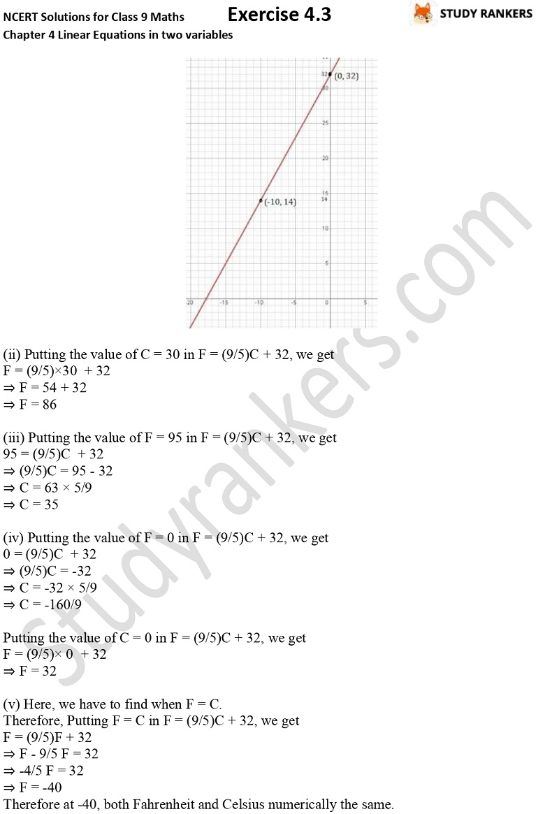 NCERT Solutions for Class 9 Maths Chapter 4 Linear Equations in Two Variables Exercise 4.3 Part 8