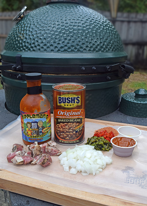 Baked BBQ Beans on the kamado grill featuring Bush's Beans