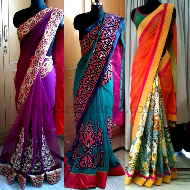 8d55fc278a6b41 Screen Work Stylish Sarees - Saree Blouse Patterns
