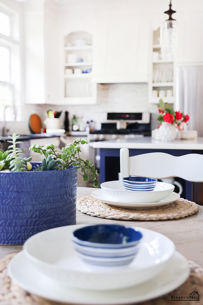 kitchen table with white and blue china