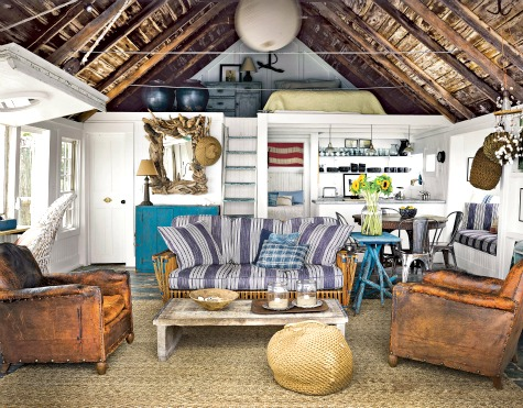 Small Rustic Nautical Cottage Living Room