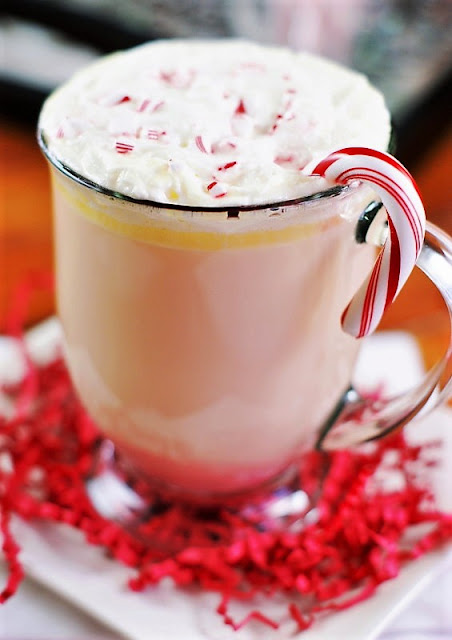 White Chocolate Peppermint Eggnog with Candy Cane Garnish