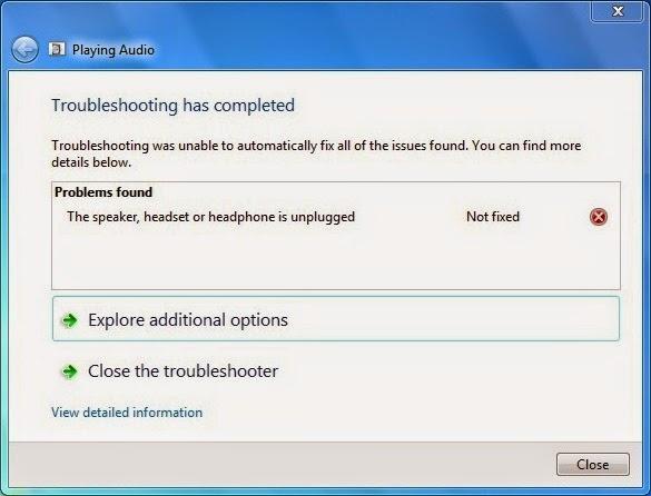 speaker tidak ditemukan pada windows 7