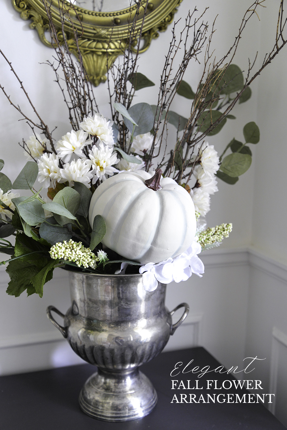 fall flower arrangement, fall flowers and pumpkin, diy fall flower arrangement