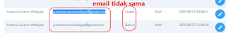 Akun email tidak sama