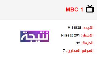 تردد قناة ام بي سي mbc 1 الجديد 2018 على النايل سات