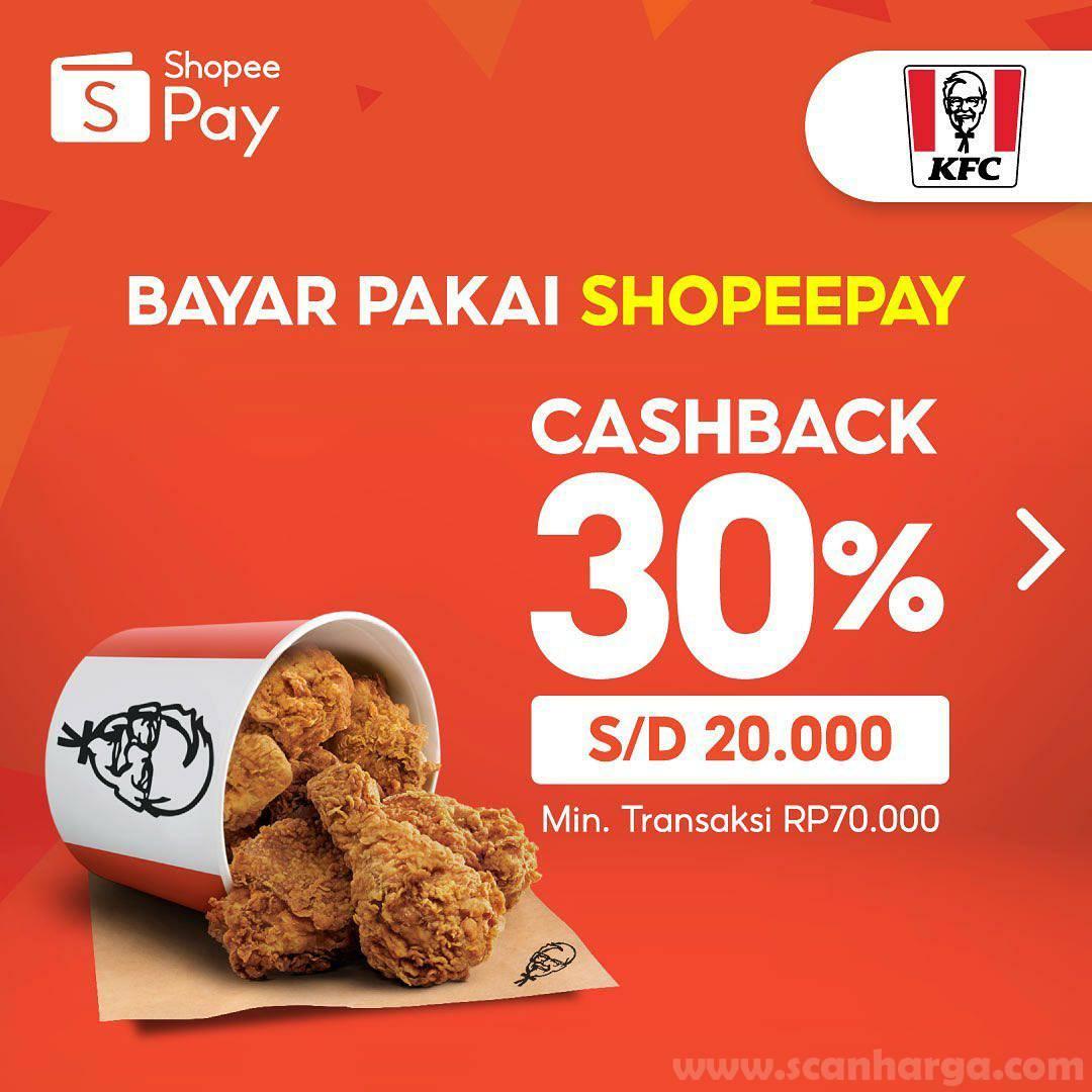KFC Promo Cashback 30% bayar pakai SHOPEEPAY