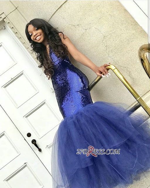 Sexy V-Neck Sleeveless 2019 Prom Dress | Mermaid Tulle Sequins Evening Gowns