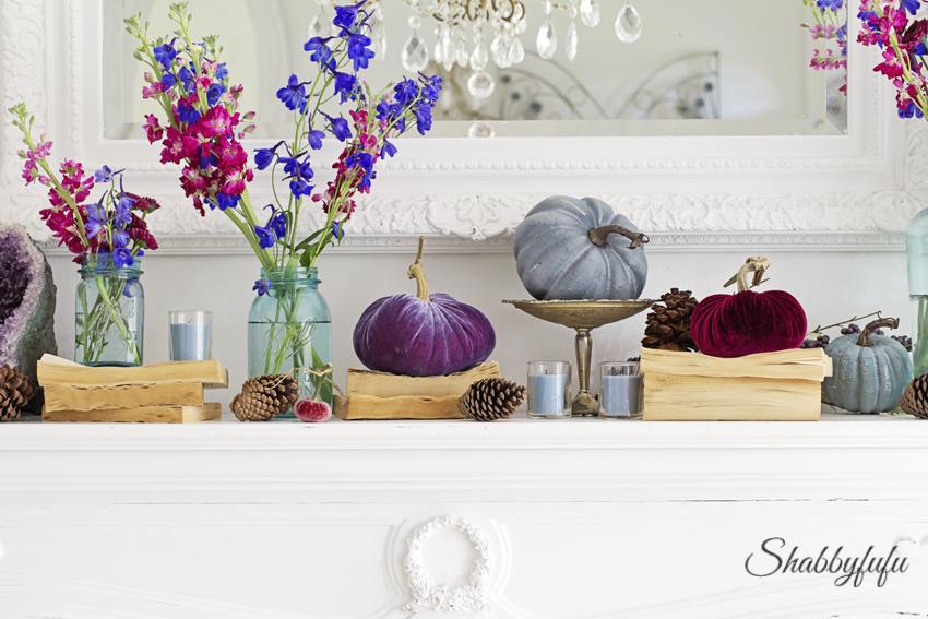 elegant jewel tone mantel fall autumn