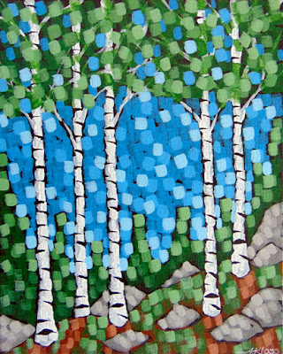 spring morning painting by artist painter aaron kloss duluth mn, painting of birch trees forest in spring, minnesota in spring, acrylic landscape, pointillism, aaron kloss art