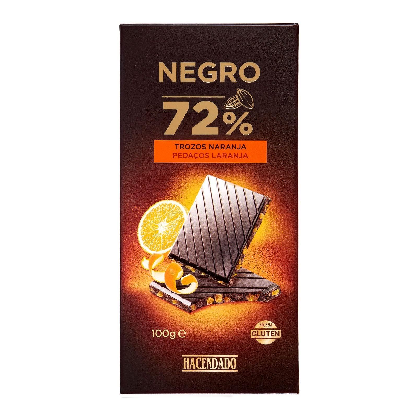 Chocolate negro extrafino 72% de cacao con trozos de naranja Hacendado
