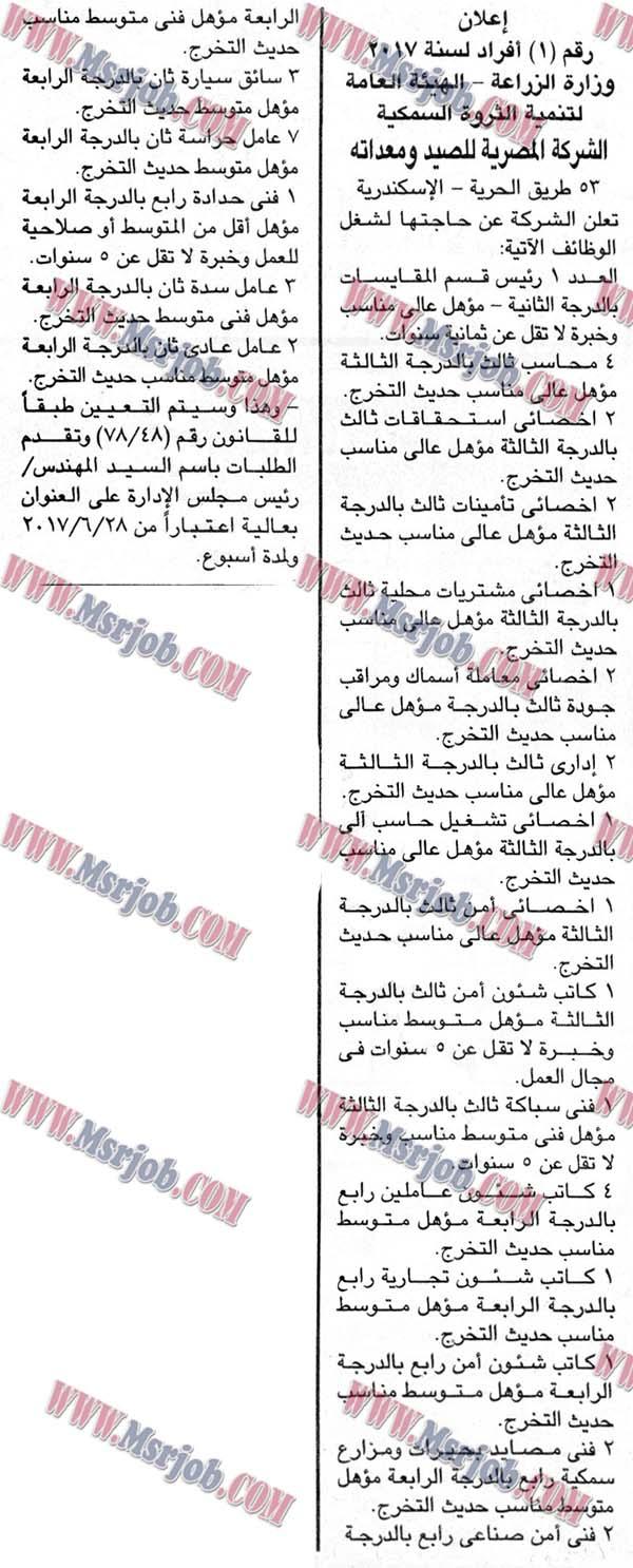 وظائف وزارة الزراعة للمؤهلات العليا والمتوسطة - الاوراق ومواعيد التقديم 24 / 6 / 2017