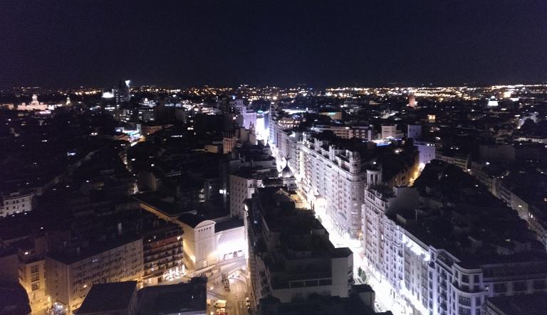 Vistas de Gran Vía desde el Hotel RIU, en Argüelles