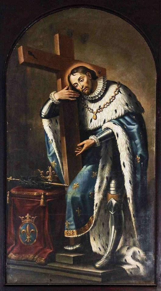São Luis Rei da França abraçando a Cruz