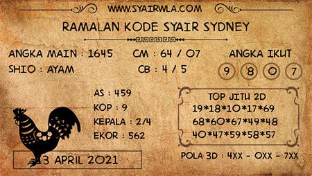 Ramalan Kode Syair Sydney Selasa 13 April 2021