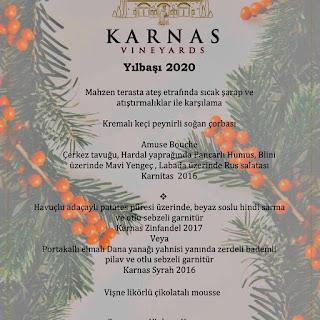 Karnas Vineyards Bodrum Yılbaşı Programı 2020 Menüsü