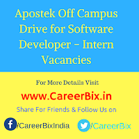 Apostek Off Campus Drive for Software Developer – Intern Vacancies