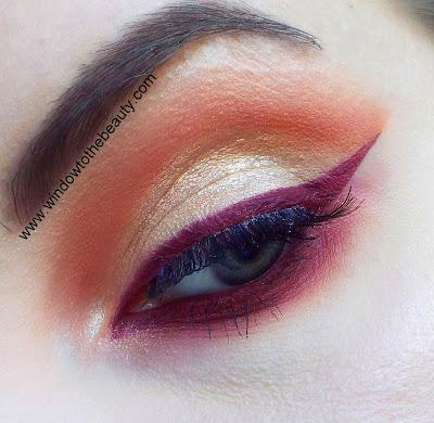 colourpop złoto- burgundowy makijaż